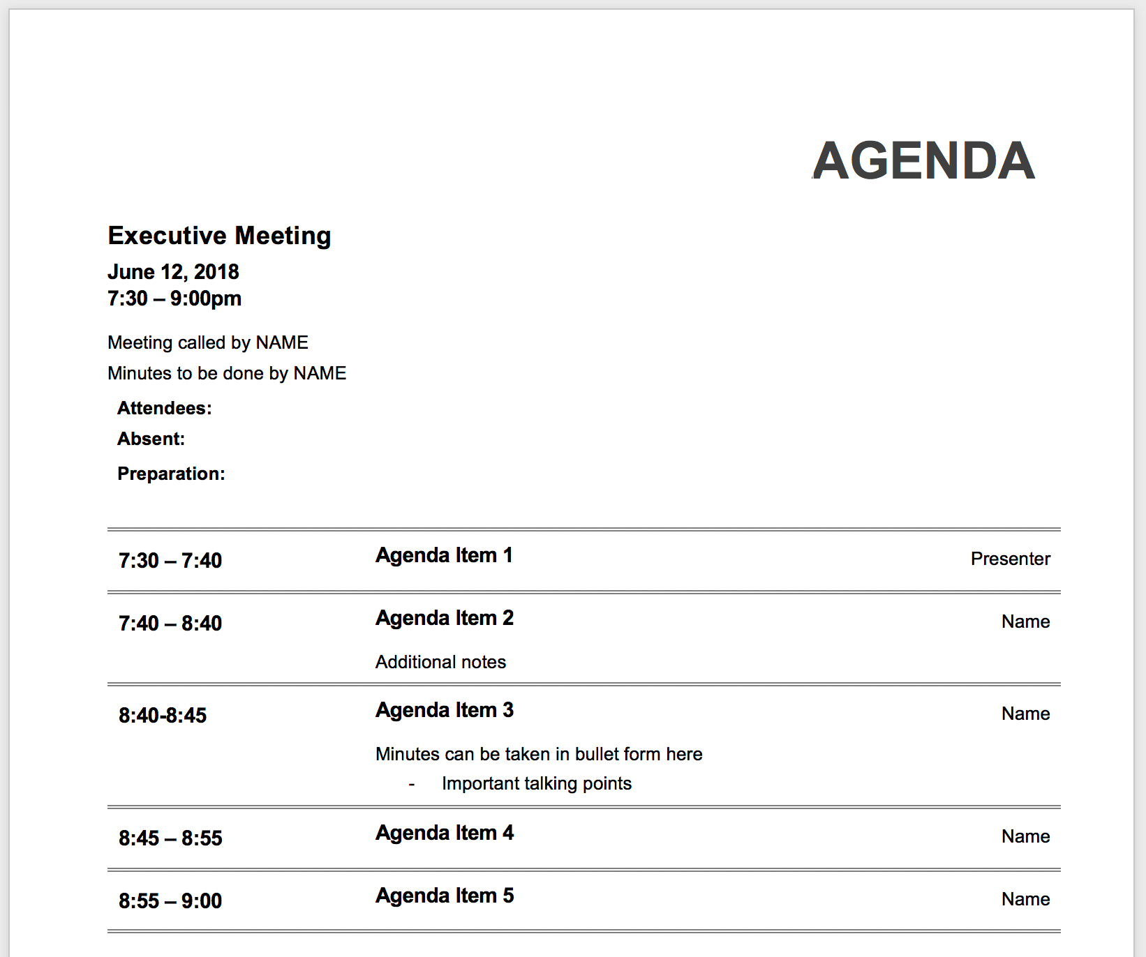 Board Meeting Minute Template from knowtworthy.com