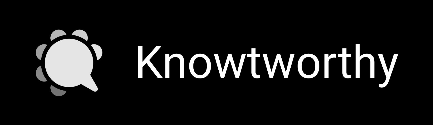 Black Knowtworthy logo with Company Name