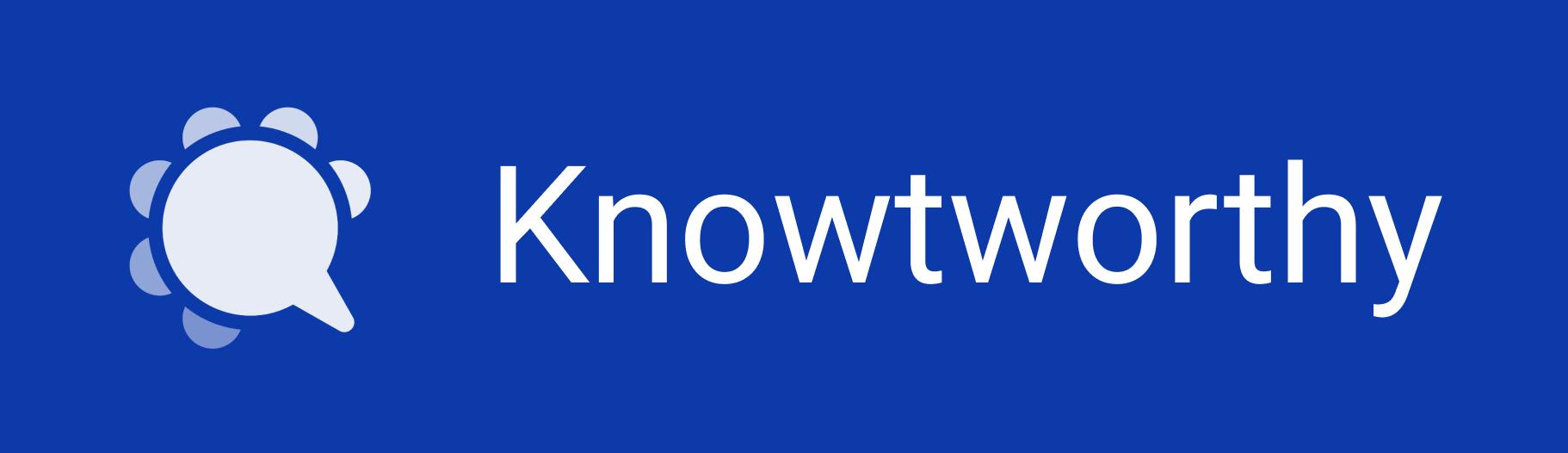 Blue Knowtworthy Logo with Company Name